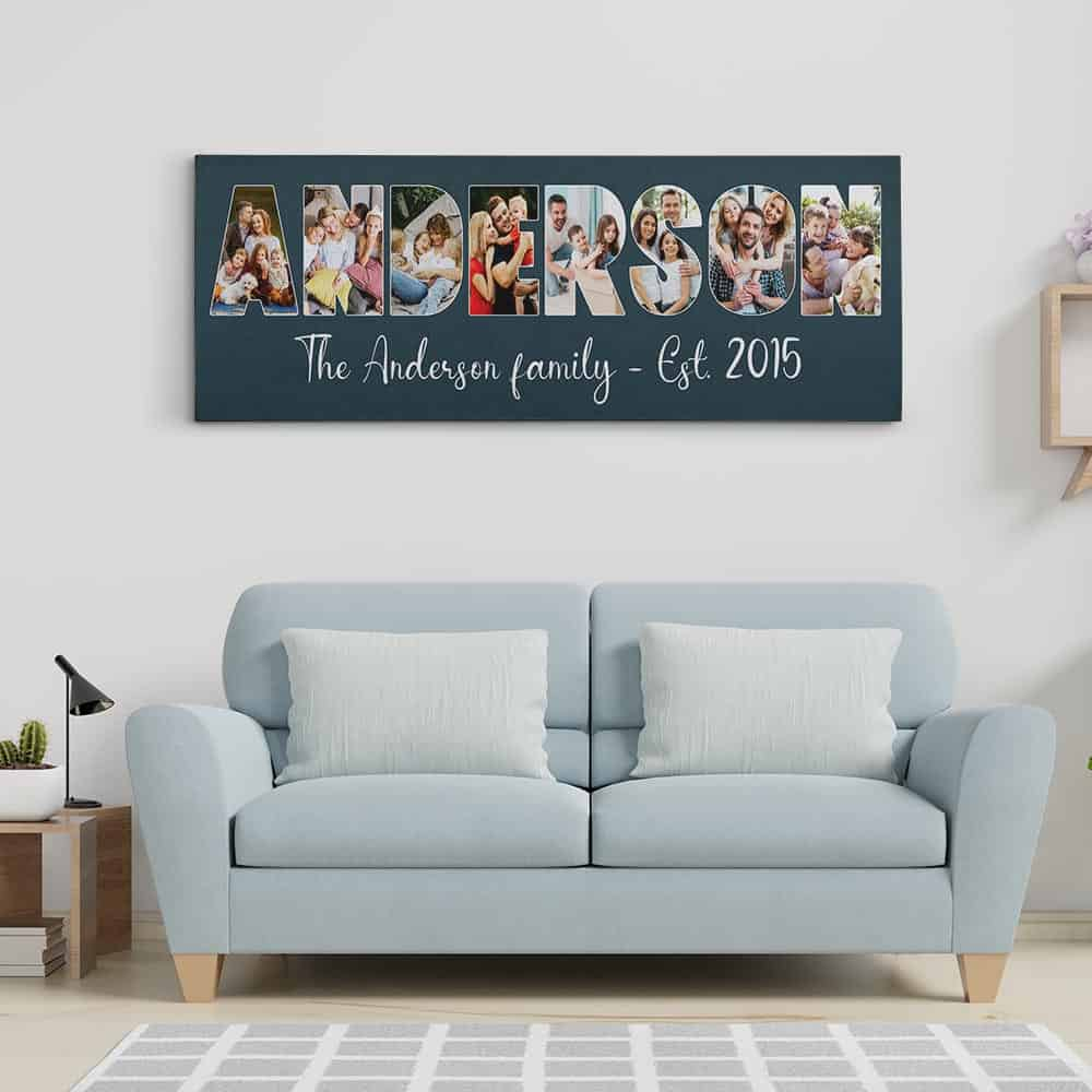 Custom Family Name Photo Letter Canvas Print - Oxford Blue Background - Hanging On The Wall