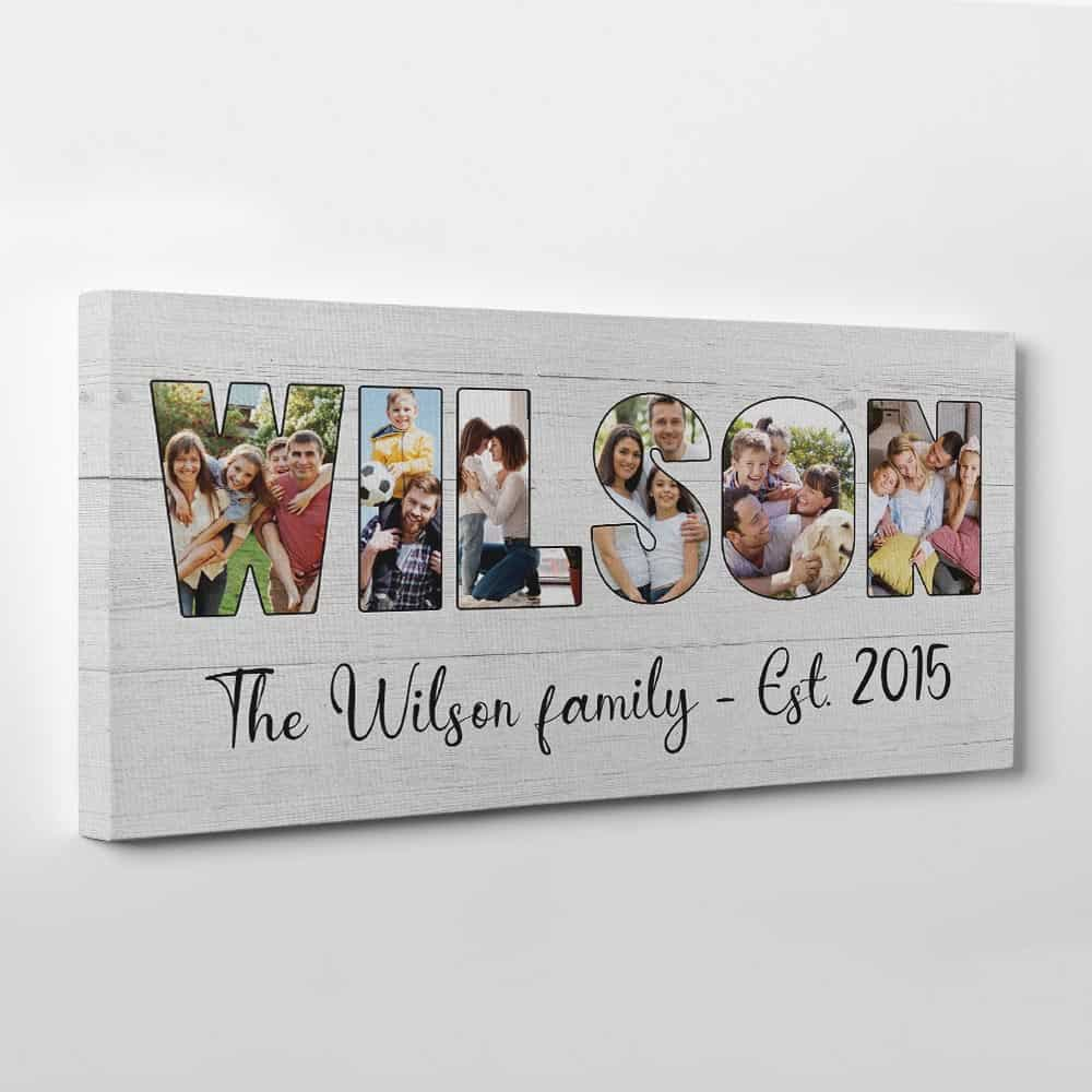 Custom Family Name Photo Letter Canvas Print - Wood Background - Side View