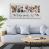 Custom Family Name Photo Letter Canvas Print - Wood Background On The Wall