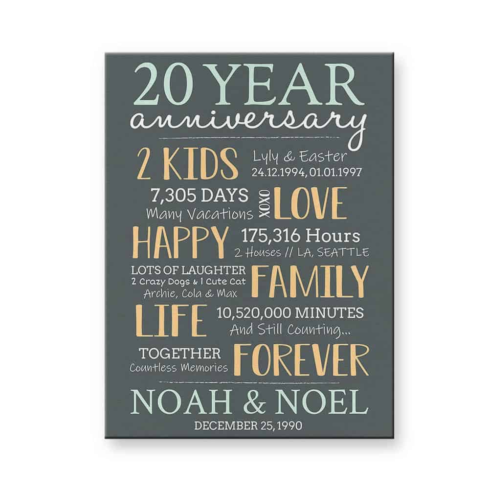 20 Year Anniversary Canvas Print - 20th anniversary gift idea