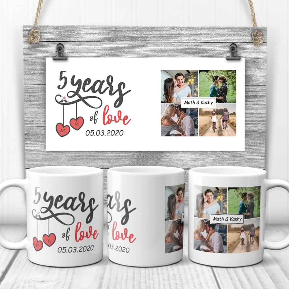 5 years of love custom mug - 5 year anniversary gift