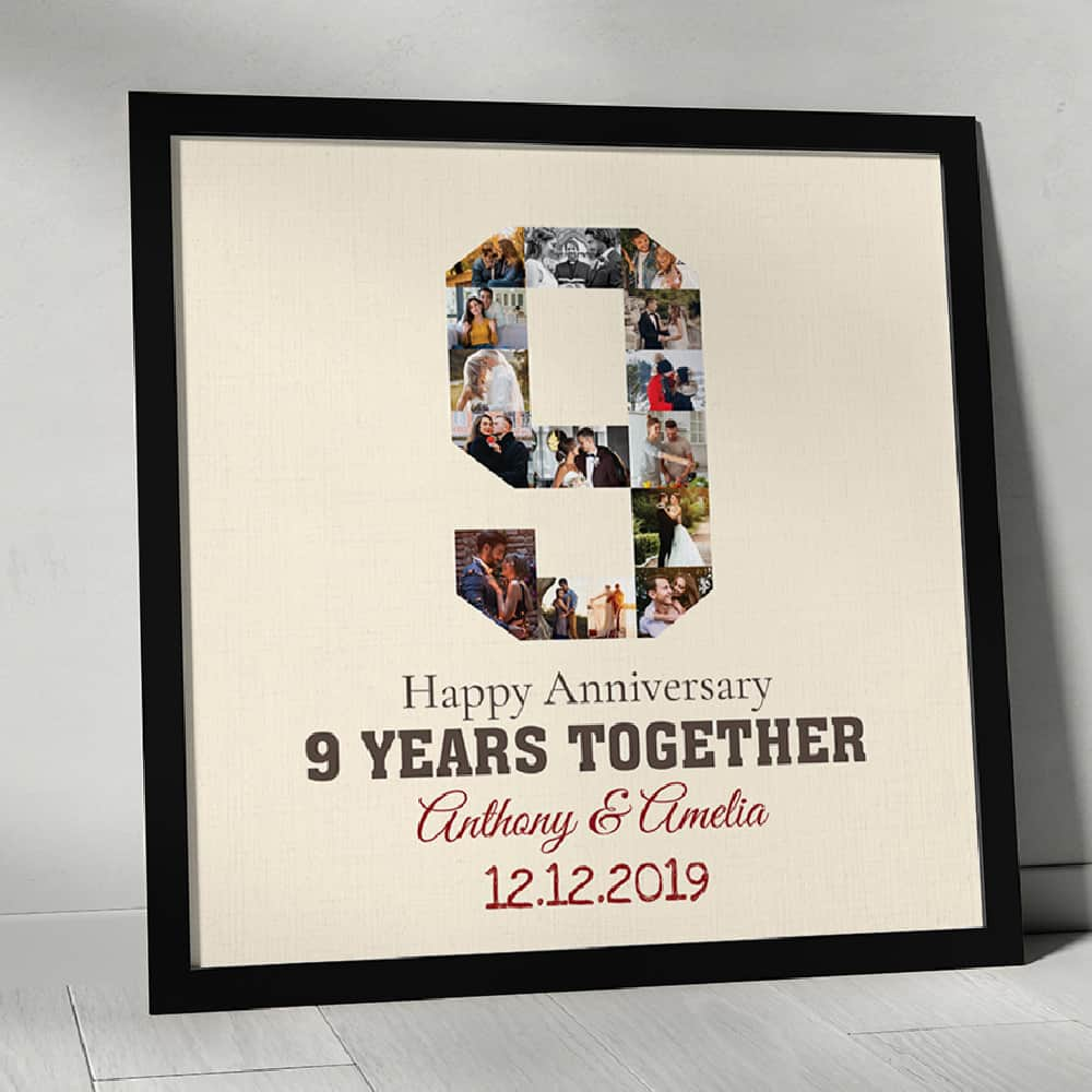 9 Years Together Anniversary Photo Collage Custom Canvas Print