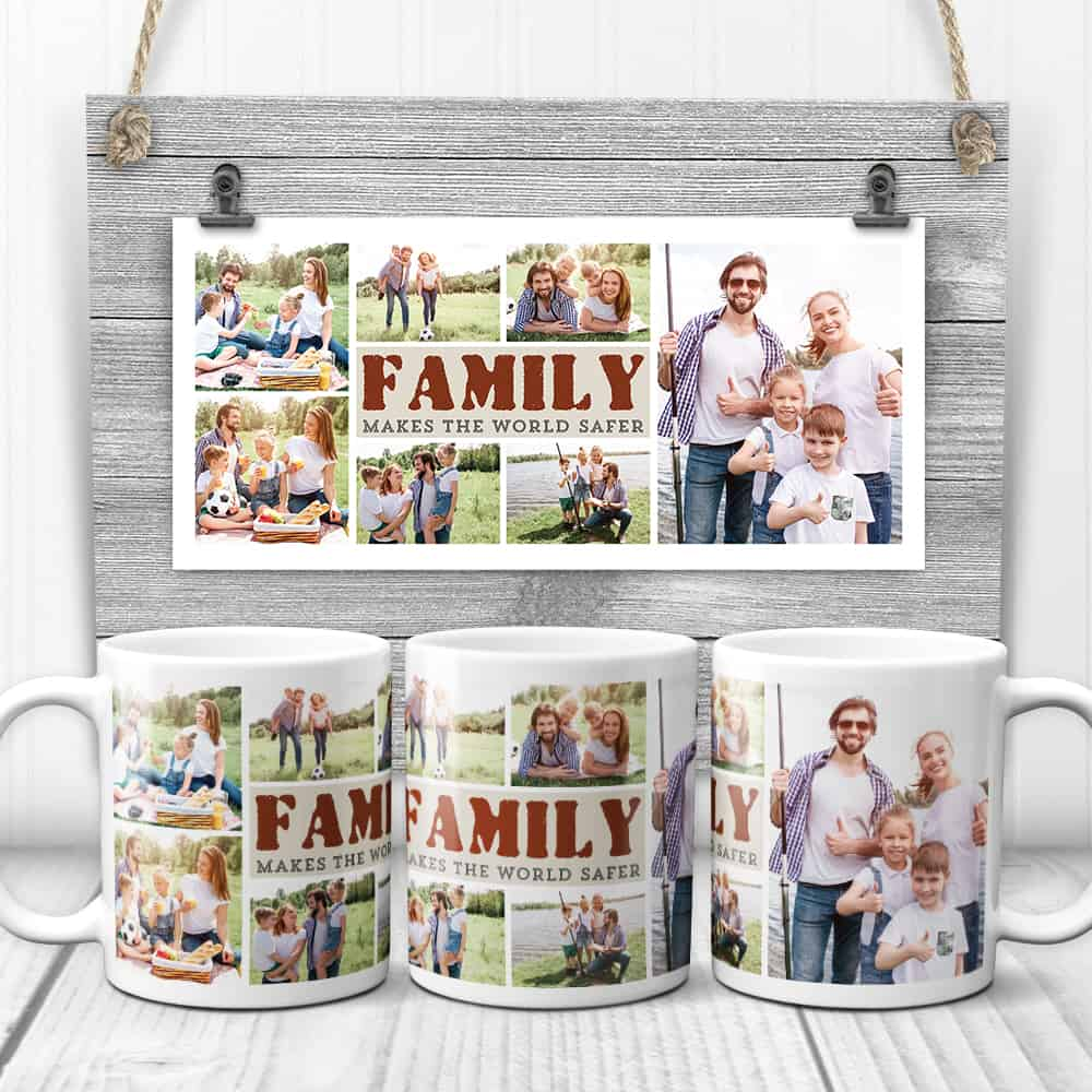 family makes the world safer photo collage mugs