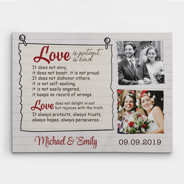 Love is Patient Love is Kind custom photo canvas - gift idea for newlyweds