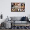 a living room with a photo collage canvas print that says Cherish Every Memory Love Every Moment