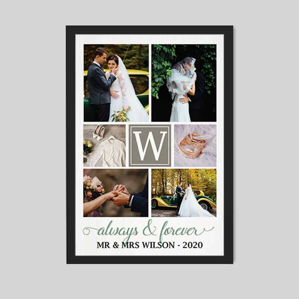 Always And Forever Custom Wedding Monogram Photo Collage Canvas