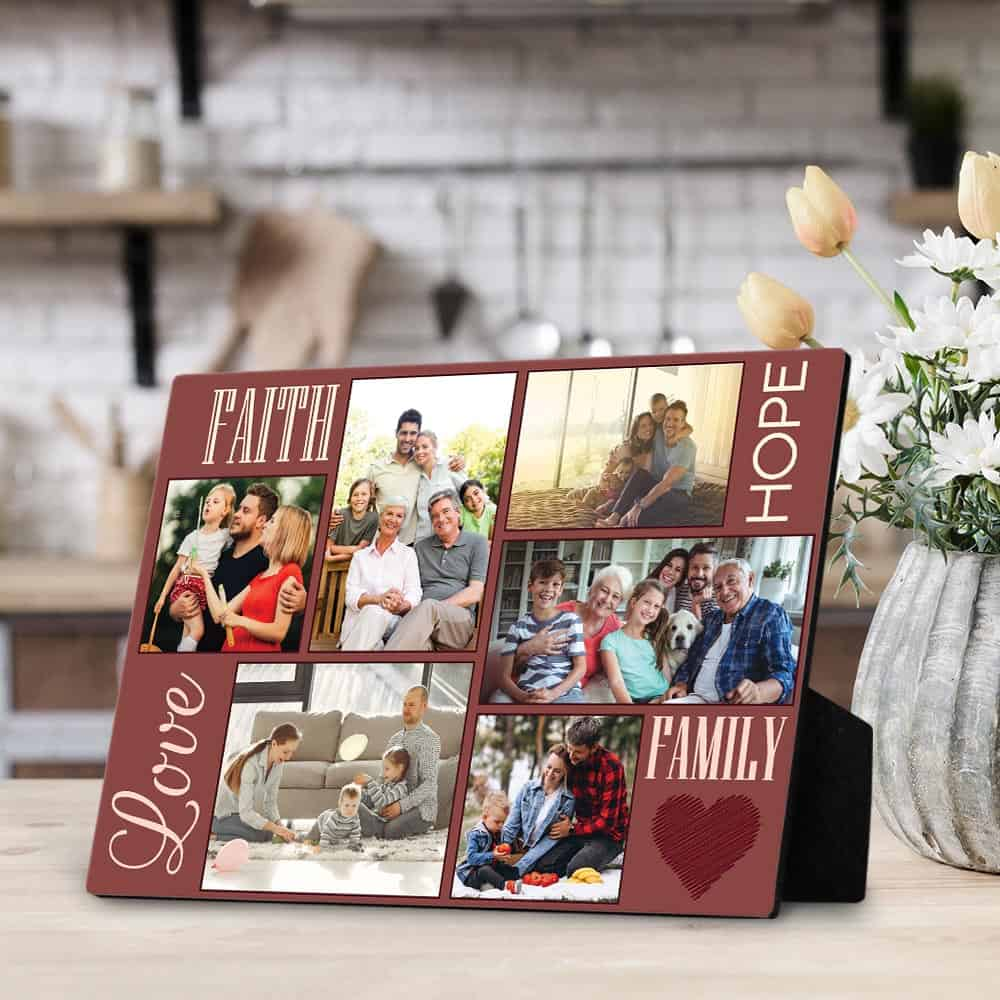 faith hope love family custom photo plaque