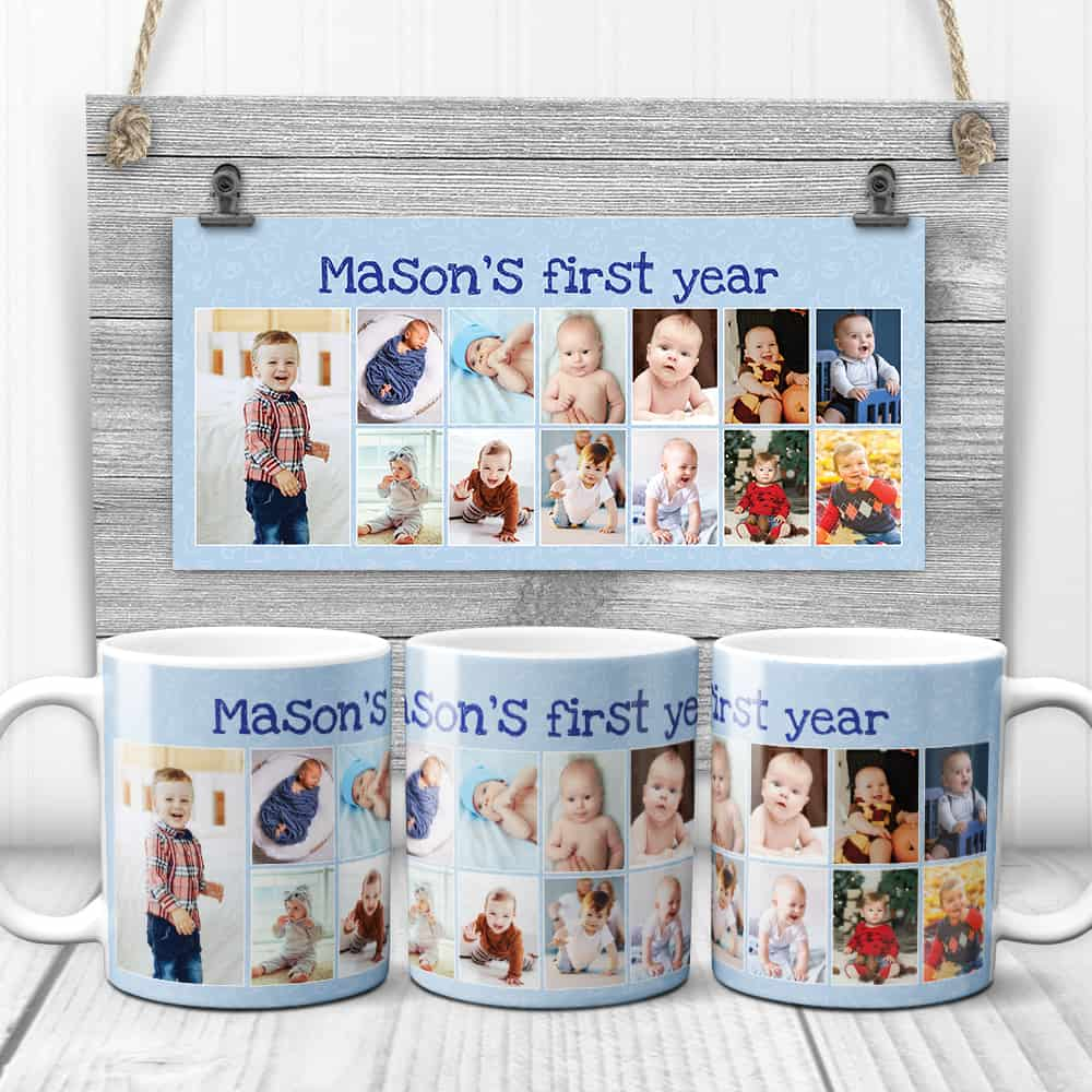 Baby's first year photo collage mug