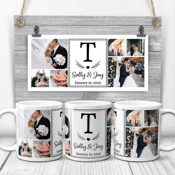 a mug with wedding photo collage, monogram and names of the bride and the groom, wedding day