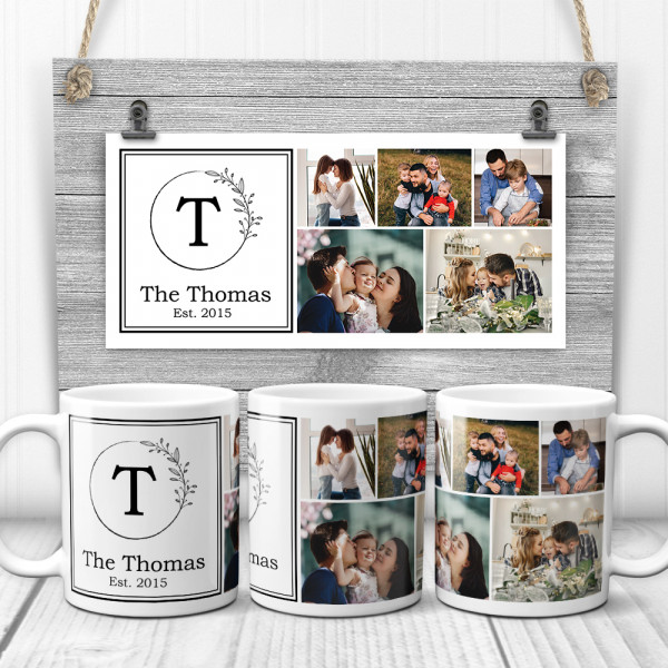 a photo collage mug with family name, family monogram, established year and family pictures
