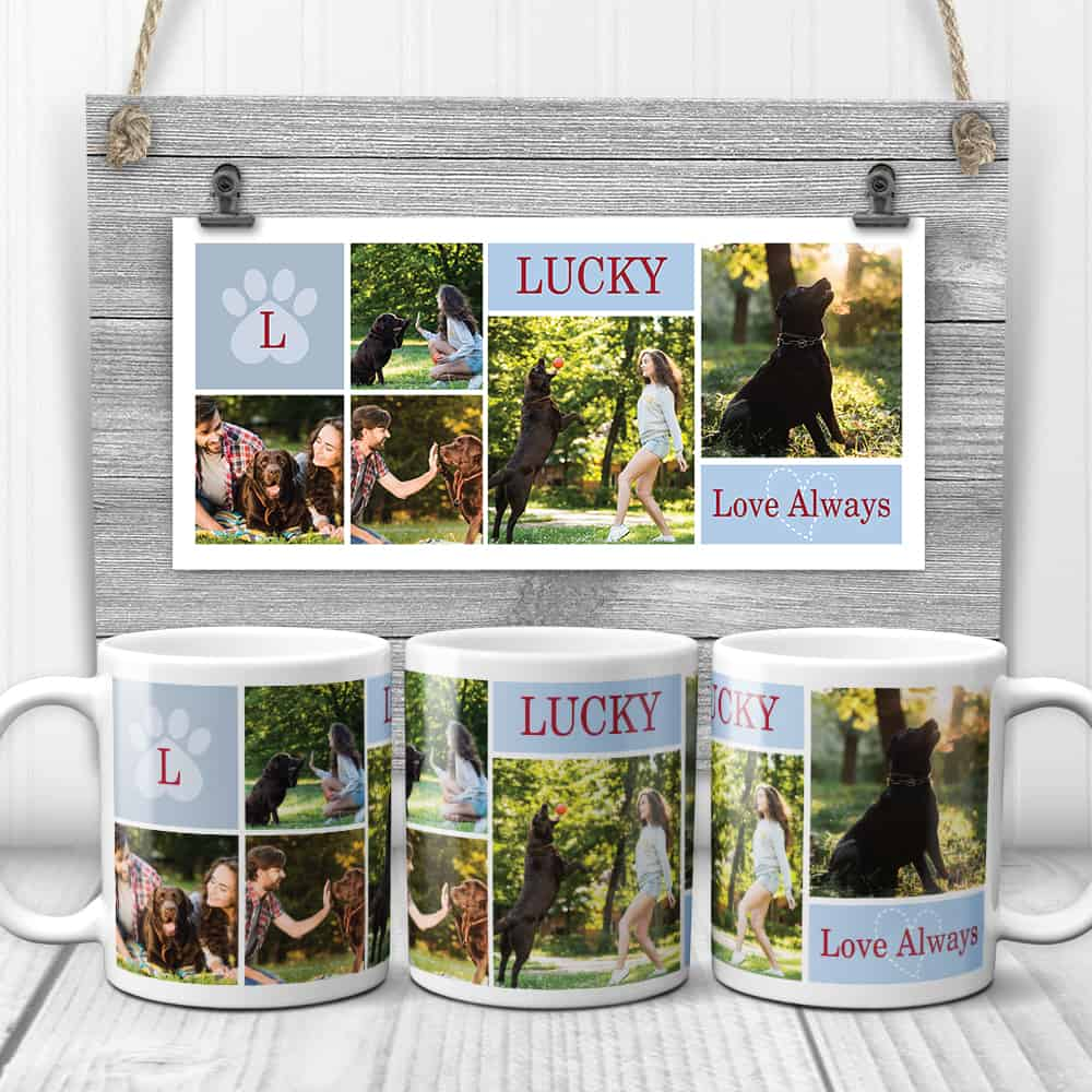 a coffee mug with photo collage of pet