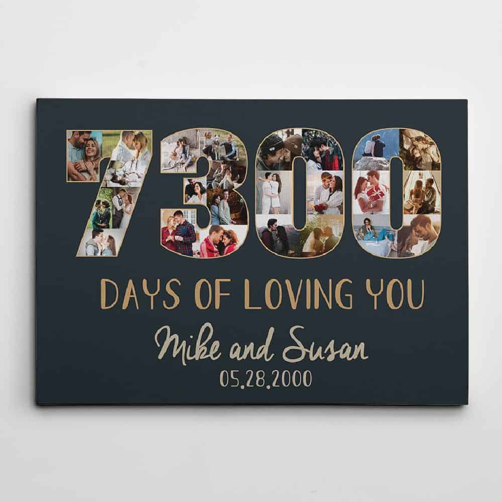 7300 Days of Loving You Photo Canvas - 20th anniversary gift idea