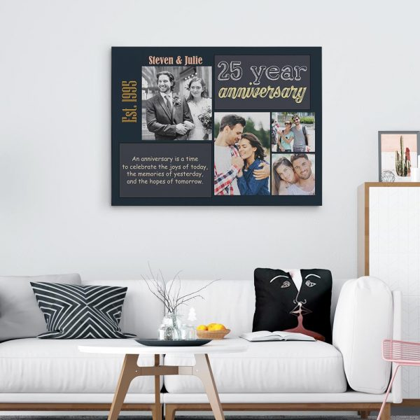 An Anniversary Is a Time to Celebrate the Joys of Today Custom Canvas Print - 25 year anniversary