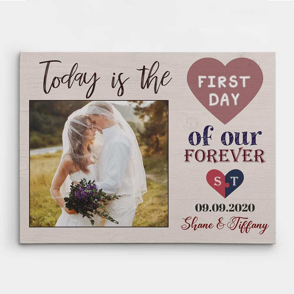 today is the first day of our forever custom photo canvas - gift for couples