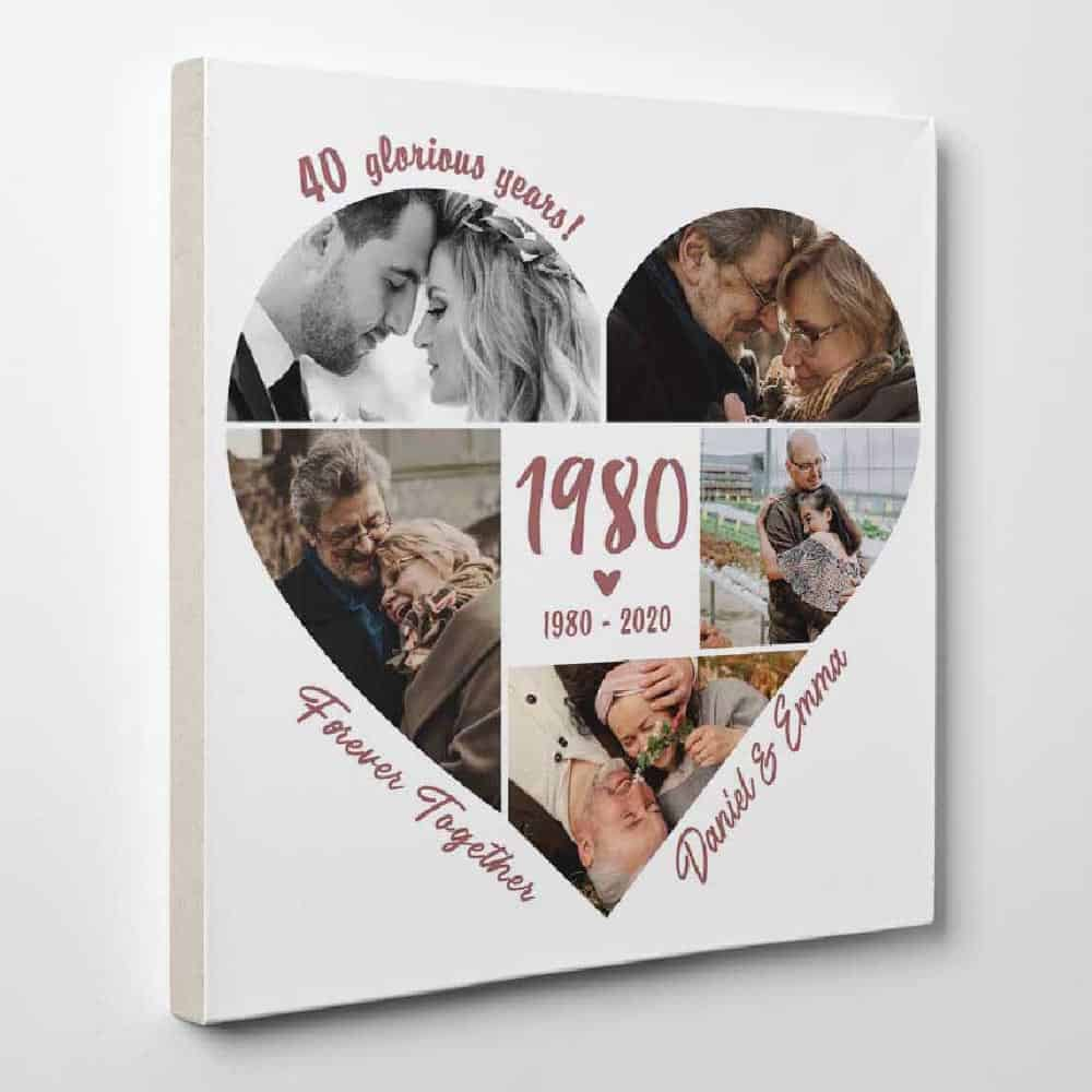 40 Glorious Years - Custom Anniversary Year Photo Collage Canvas - heart shaped photo collage