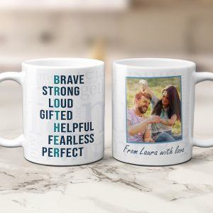 a custom photo mug with Brother Acronym - Brave Strong Loud Gifted Helpful Fearless Perfect