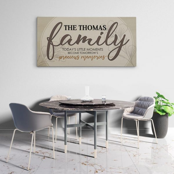 Family Today Little Moments Become Tomorrow Precious Memories Custom Name Canvas Print