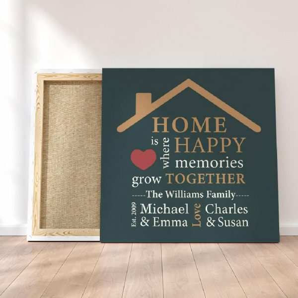 home is where happy memories grow together custom canvas print