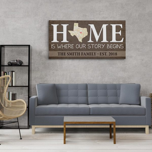 Home Is Where Our Story Begins - Custom Map State Family Name Canvas Print