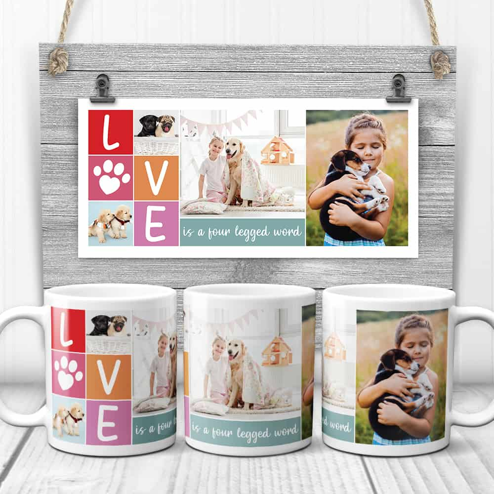 custom photo mug with text love is a four-legged word