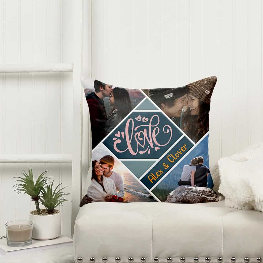 Love Photo Collage Pillow