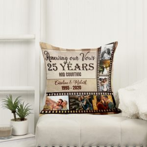25 Years and Counting Photo Collage Pillow - Wedding Vow Renewal Gift