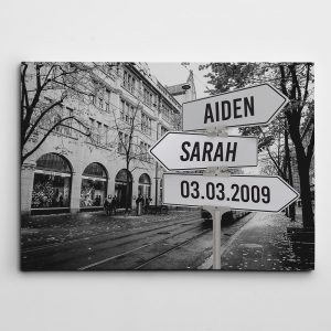 Personalized Street Sign Canvas Art Print – On The Street
