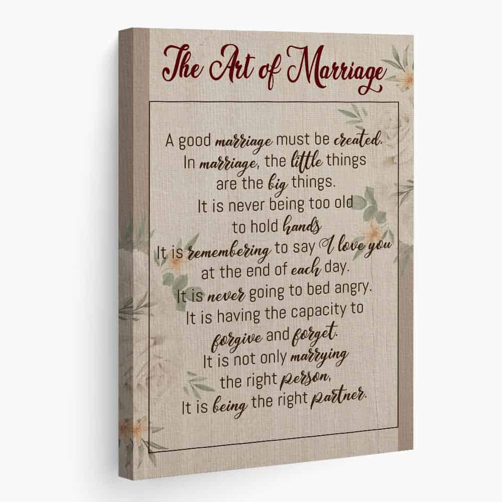 A Canvas Print With The Art Of Marriage Poem