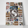 A monogram family photo collage canvas print with color blocks and 15 photos