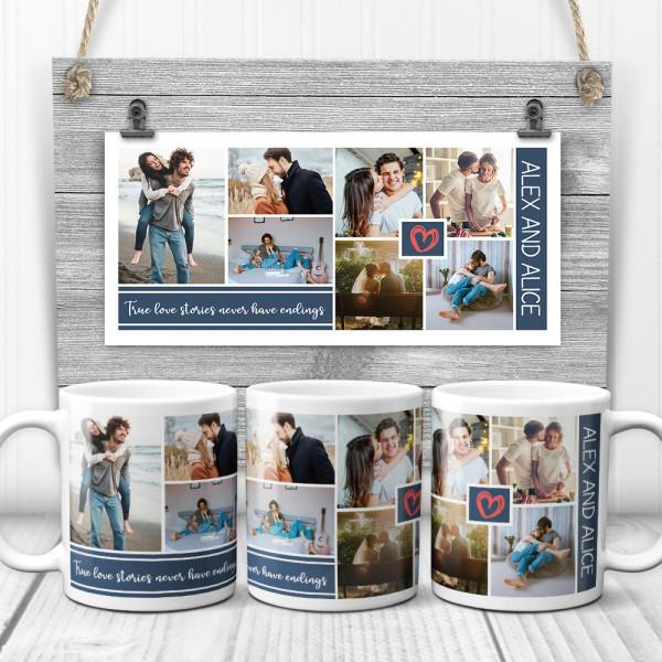 """""""True Love Stories Never Have Endings"""" Mugs - gifts for couples"""