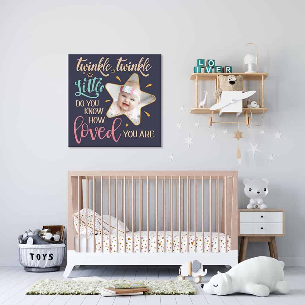 a nursery room with a photo canvas print that says twinkle twinkle little star do you know how loved you are