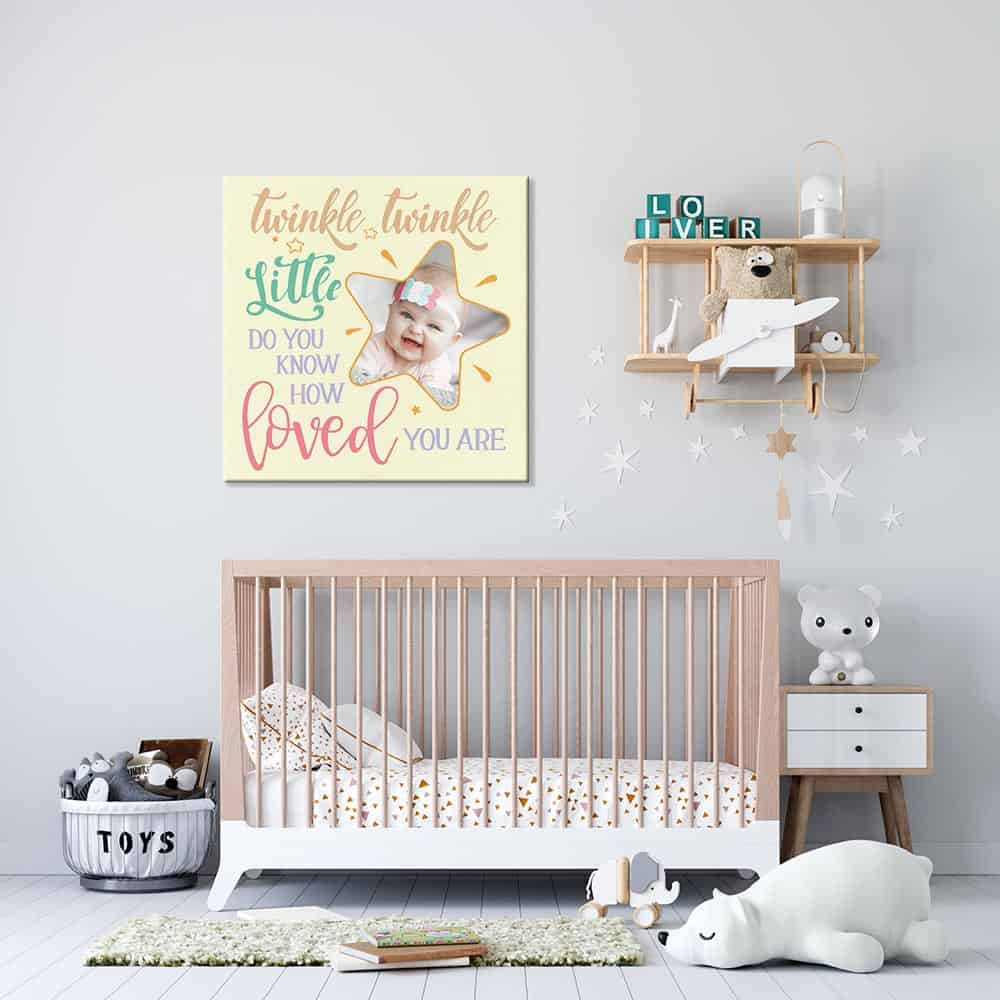 a nursery with a photo canvas print that says twinkle twinkle little star do you know how loved you are