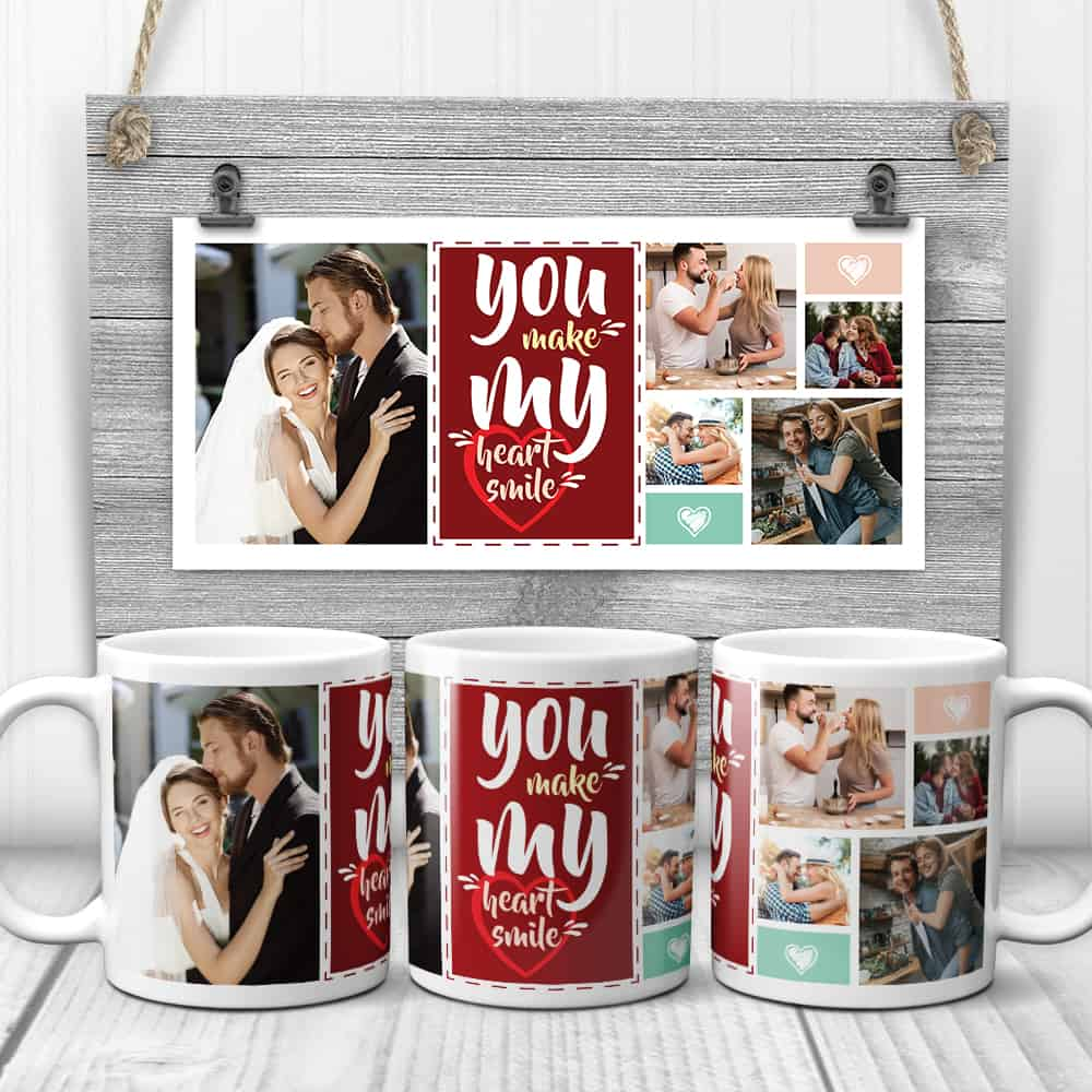 a mug with a photo collage and the saying You Make My Heart Smile