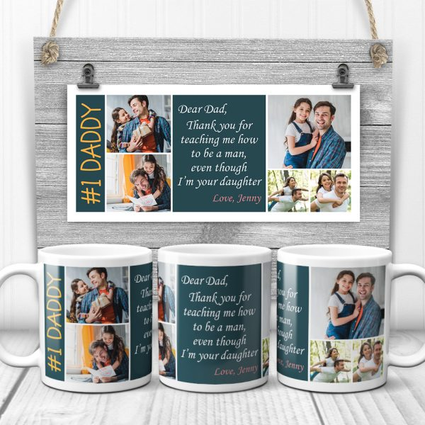 a custom photo mug with the saying Dad Thank You For Teaching Me How To Be A Man