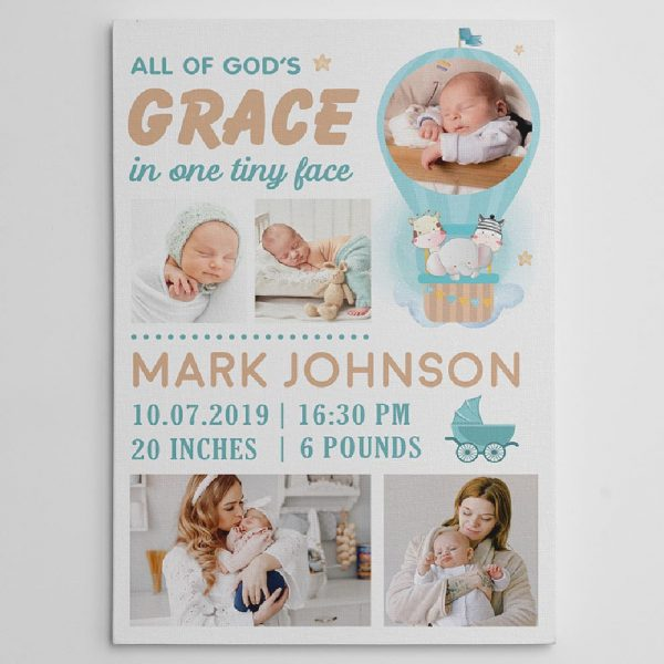 All Of God' Grace in One Tiny Face Custom Photo Canvas Print