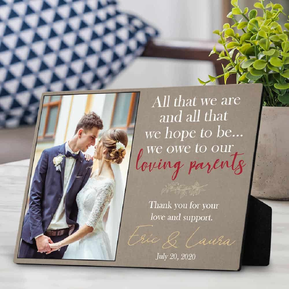 4x6 Personalized Picture Frame All That We Are And Hope To Be Parents Gift Wedding Thank You For Parents Of The Bride Groom