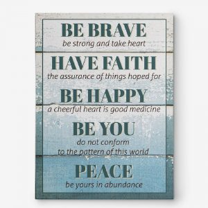 be brave wall art canvas print - inspirational sign