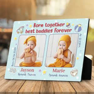 a desktop photo plaque with the quote Born Together Best Friends Forever and twin birth stats