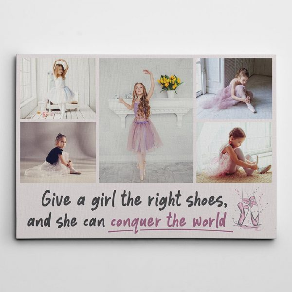 give a girl the right shoes photo canvas print - gift for ballerina