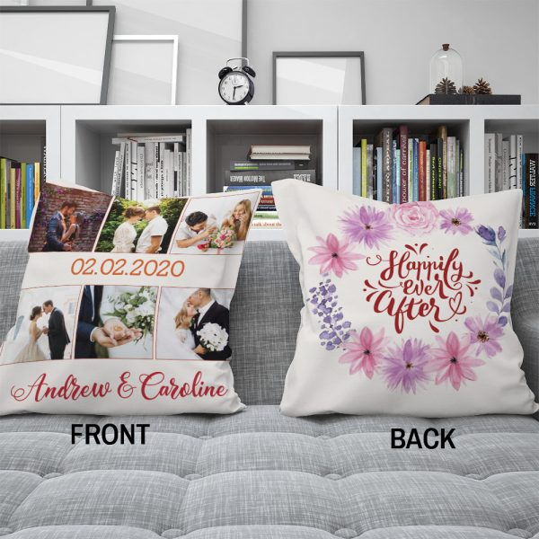 Happily Ever After Photo Collage Pillow