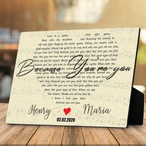 heart shaped song custom desktop plaque