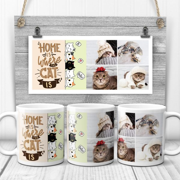 Home Is Where The Cat Is Cute Custom Photo Collage Mug