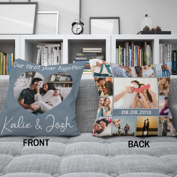 our first year together custom photo pillow