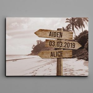 Personalized Street Sign Canvas Art Print – On The Beach