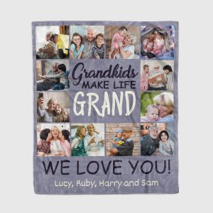 Grandkids make life grand custom photo collage blanket