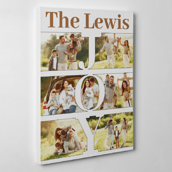 Personalized JOY Photo Collage With Family Name Canvas Print