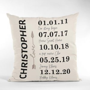 family anniversary milestones personalized throw pillow