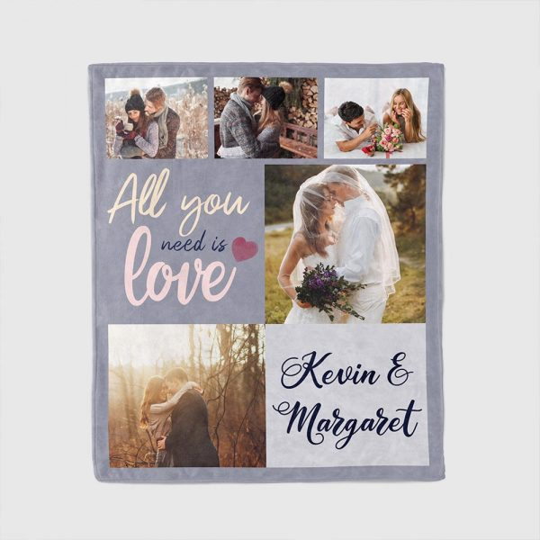 All you need is love custom photo blanket