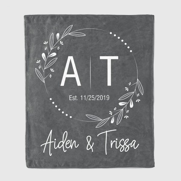 couple initials personalized blanket
