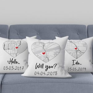 Hello Will You I Do Custom Map Black And White Suede Pillow